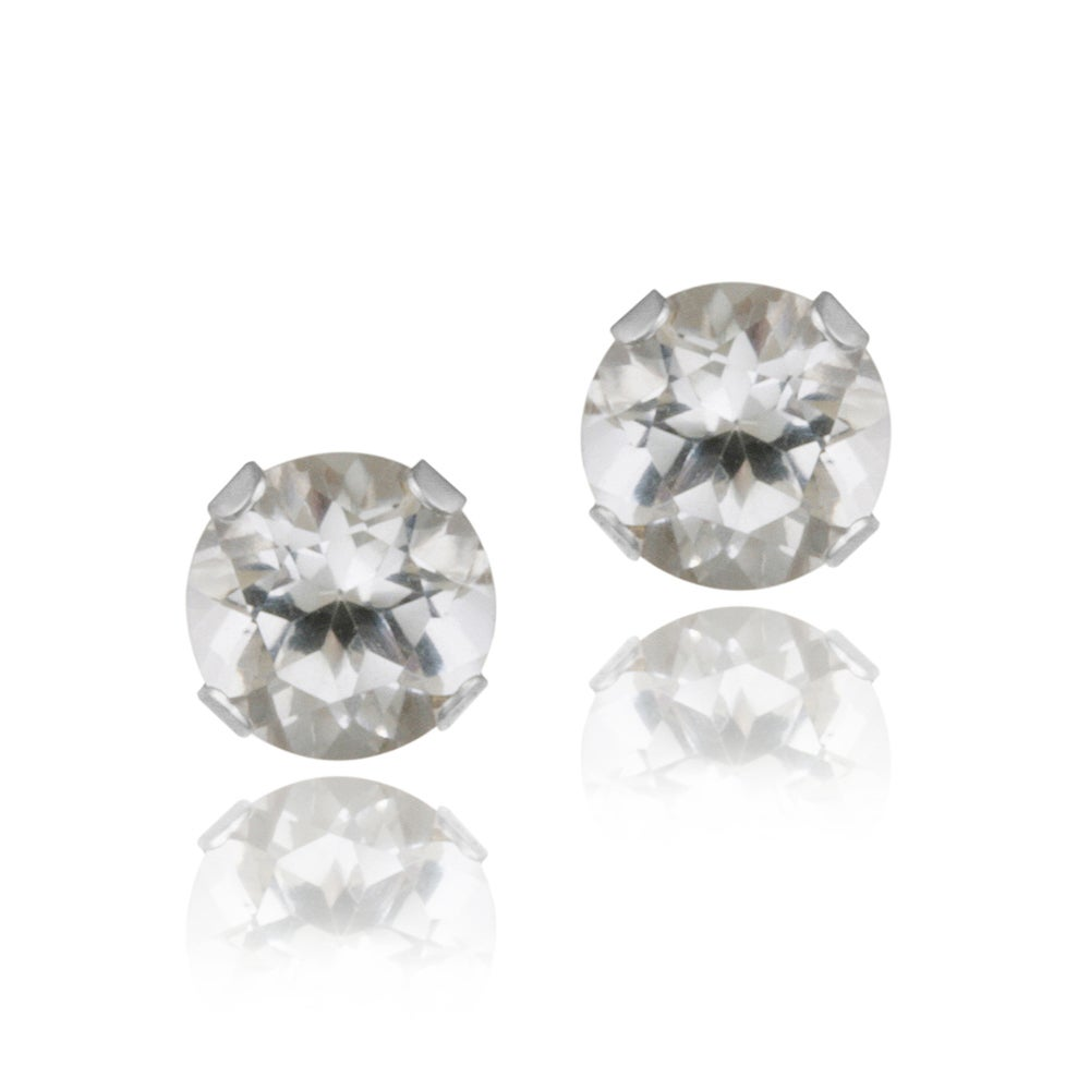Glitzy Rocks Sterling Silver 3 5ct Tgw 4 Mm White Topaz Stud Earrings