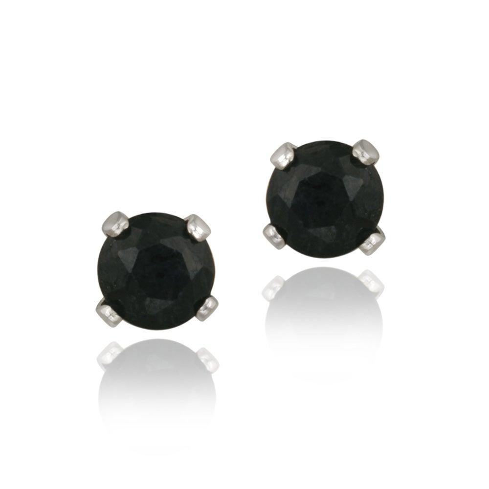 Glitzy Rocks Sterling Silver 3/4ct TGW 4-mm Sapphire Stud Earrings