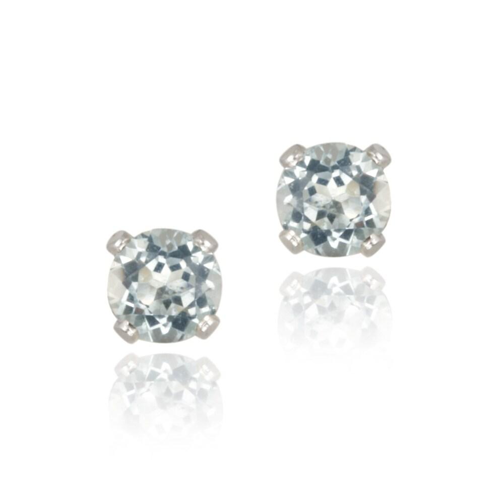 Glitzy Rocks Sterling Silver 5/8ct TGW 4-mm Blue Topaz Stud Earrings