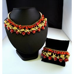 Brasstone Red Coral and Bead Necklace and Bracelet Set (Thailand)