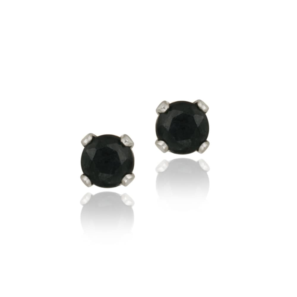 Glitzy Rocks Sterling Silver 3-mm Sapphire Stud Earrings