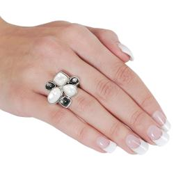 Silvertone Black and White Mother of Pearl Ring - Thumbnail 2
