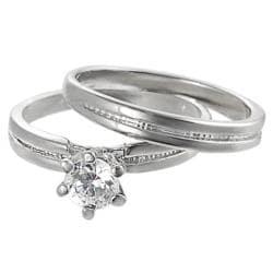 Silvertone Round-cut Cubic Zirconia Ring Set