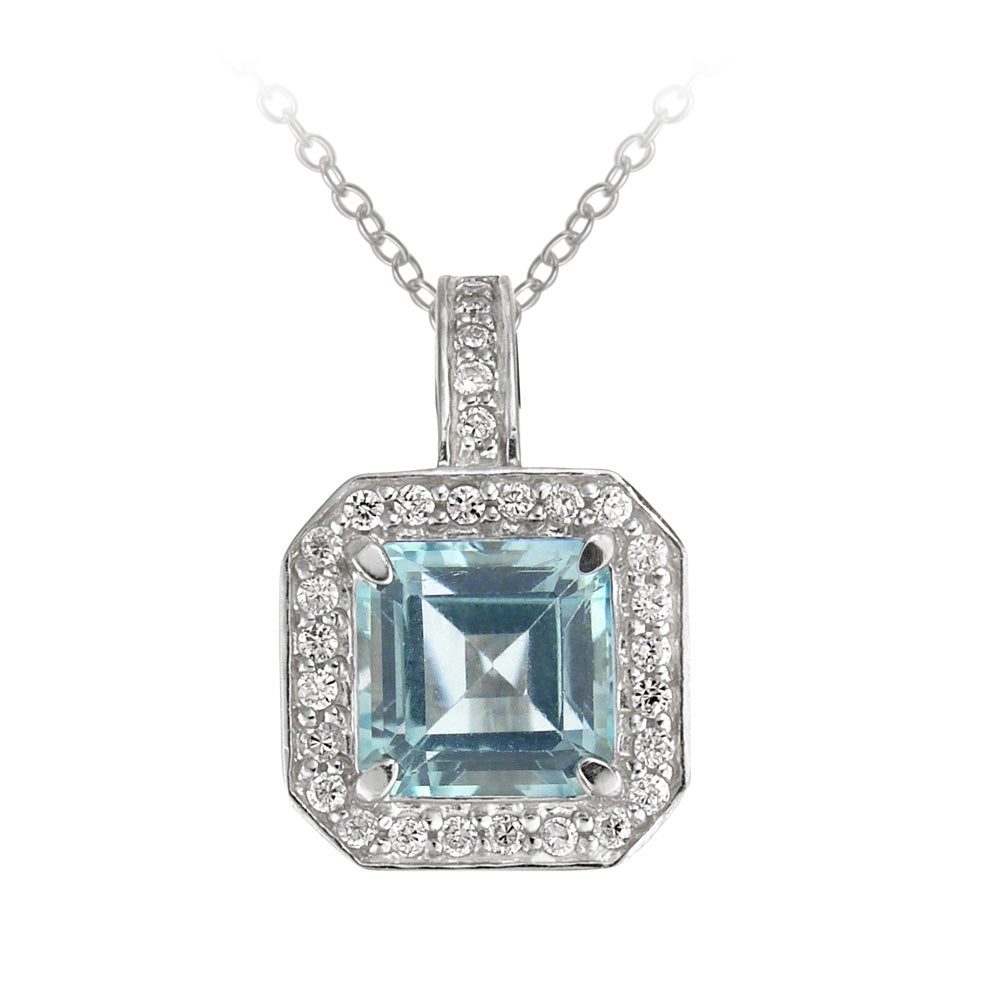 Glitzy Rocks Sterling Silver Blue Topaz and CZ Necklace (6 1/5ct TGW)