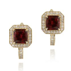Glitzy Rocks 18k Gold over Silver Lab-created Ruby and CZ Earrings (4ct TGW)