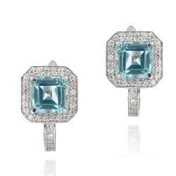 Glitzy Rocks Sterling Silver Blue Topaz and CZ Earrings (6 3/4ct TGW)