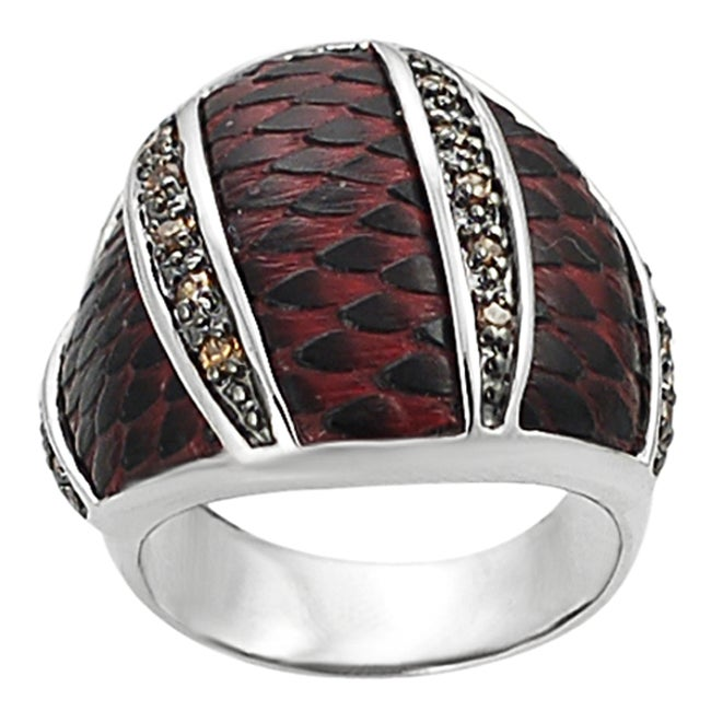 Journee Collection Silvertone Black and Orange Cubic Zirconia Red Scaled Vinyl Ring