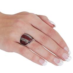 Journee Collection Silvertone Black and Orange Cubic Zirconia Red Scaled Vinyl Ring - Thumbnail 2