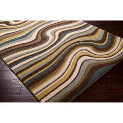 Meticulously Woven Contemporary Multi Colored Stripe Filey Abstract Rug (5'3 x 7'6) - Thumbnail 1