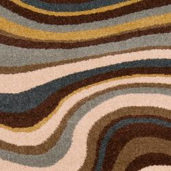 Meticulously Woven Contemporary Multi Colored Stripe Filey Abstract Rug (5'3 x 7'6) - Thumbnail 2