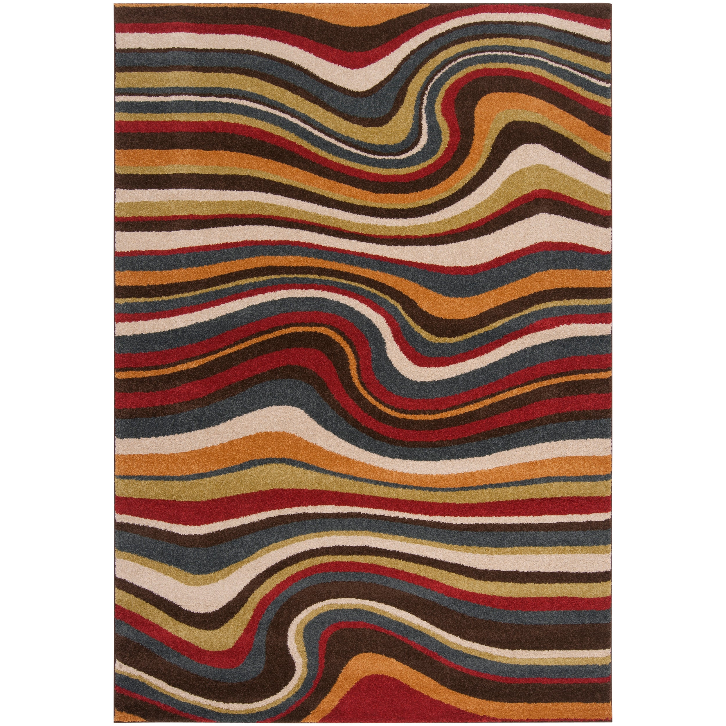 Meticulously Woven Contemporary Multi Colored Stripe Filton Abstract Rug (7'10 x 10')