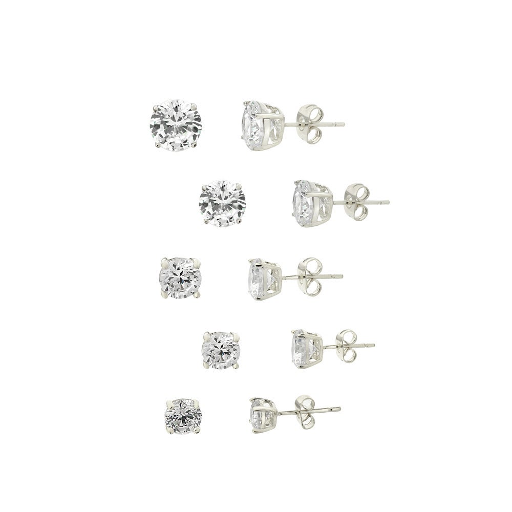 Icz Stonez Rhodium-plated Cubic Zirconia Earrings (Set of 5) (16 1/2ct TGW)