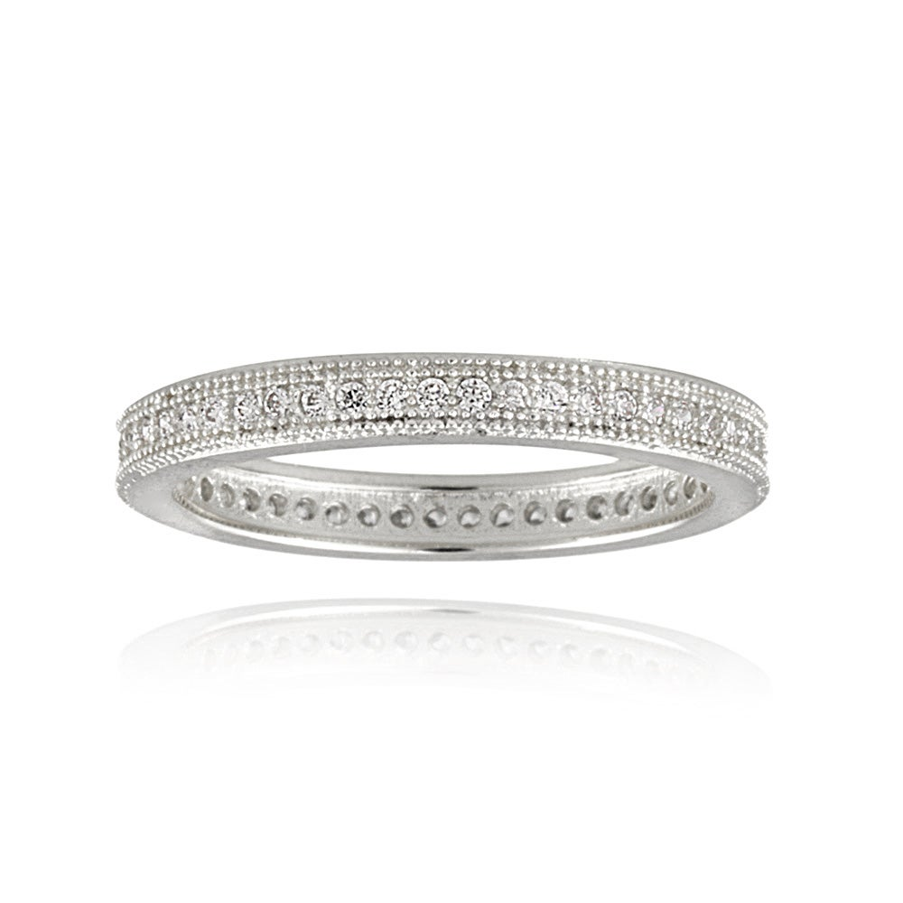 Icz Stonez Rhodium-plated Stackable Cubic Zirconia Eternity Ring