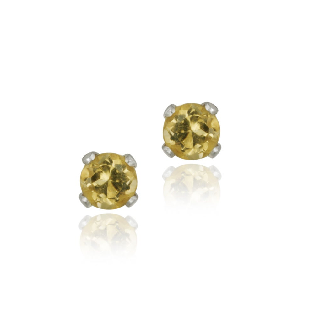 Glitzy Rocks Sterling Silver 3-mm Citrine Stud Earrings