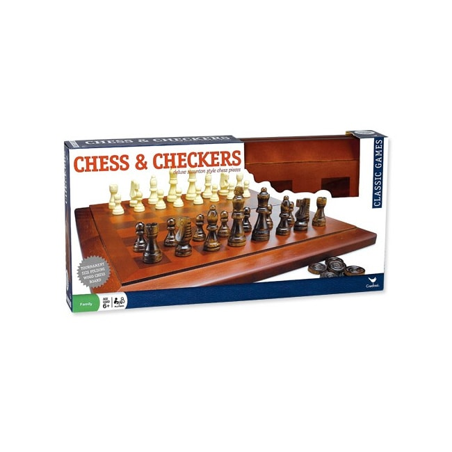 Cardinal Solid Wood Tabletop Chess and Checkers Board Game Set - Thumbnail 0