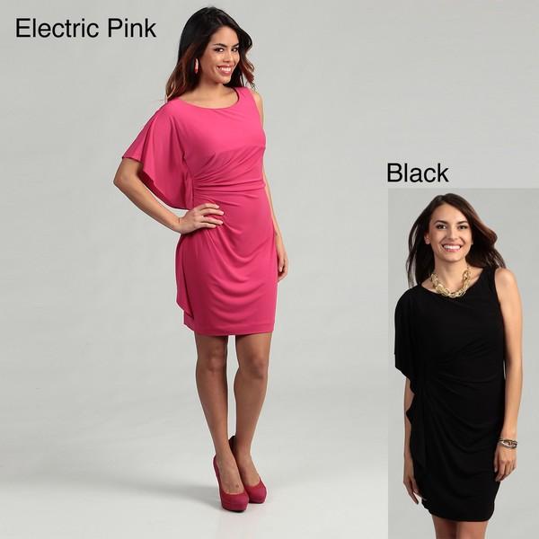 Calvin Klein Women's Ruched Batwing Sleeve Dress