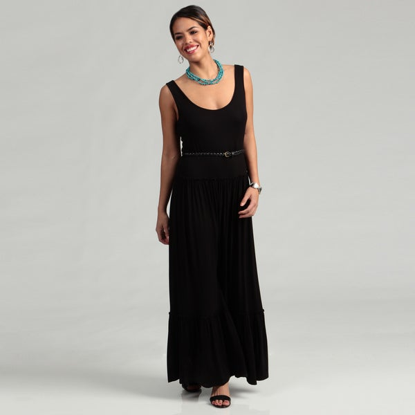 Calvin Klein Women's Black Double Scoop Belted Dress