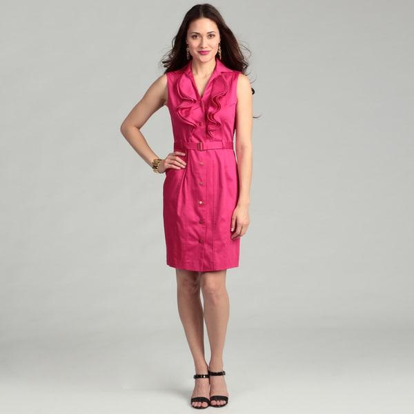 Calvin Klein Women's Ruffle Front Belted Dress