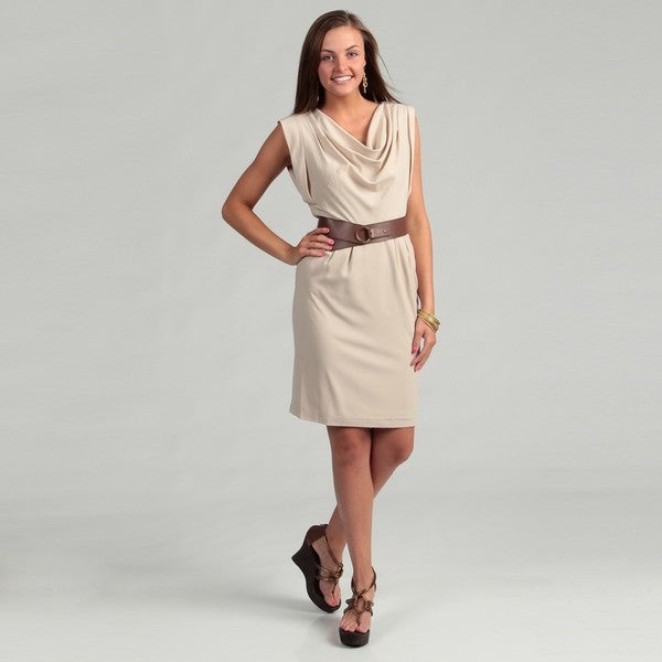 Calvin Klein Women's Khaki Drape Belted Dress