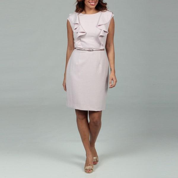 Calvin Klein Women's Nauve Ruffle Belted Dress