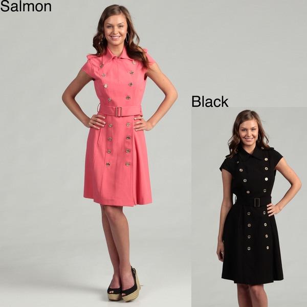 Calvin Klein Women's Cap-sleeve Military Dress