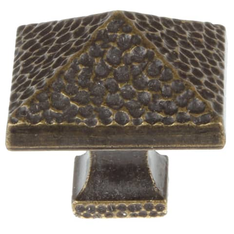 GlideRite 1.25-inch Antique Brass Square Hammered Pyramid Cabinet Knobs (Pack of 25)