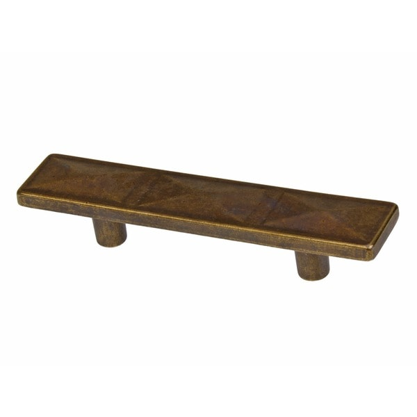 GlideRite 2.5 Inch Antique Brass Rectangle Triple Pyramid Cabinet Pulls  (Pack Of 25)