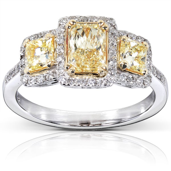 Annello by Kobelli 14k Gold 1 5/8 ct TDW Certified Yellow and White Diamond Ring (H-I, SI2-I1)
