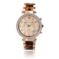 Michael Kors Women's MK5538 'Parker' Rosetone and Tortoise Resin Glitz Watch