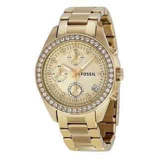 Fossil Women's ES2683 'Decker' Gold-tone Stainless Steel Glitz Chronograph Watch