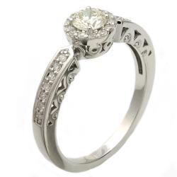 Beverly Hills Charm 14k White Gold 1/2ct TDW Diamond Halo Engagement Ring (H-I, I1)