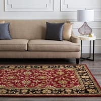 Hand-tufted Burgundy Traditional Floral BordeBurgundy Urner Wool Area Rug - 5' x 8'