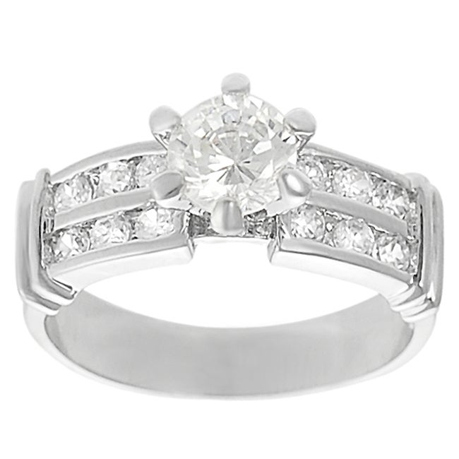 Silvertone Round-cut Cubic Zirconia Ring - Thumbnail 0