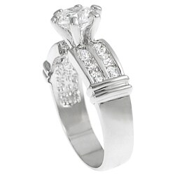 Silvertone Round-cut Cubic Zirconia Ring - Thumbnail 1
