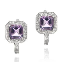 Glitzy Rocks Sterling Silver Amethyst and Cubic Zirconia Earrings