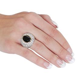 Silvertone and Goldtone Cubic Zirconia and Oval-cut Created Onyx Ring - Thumbnail 2
