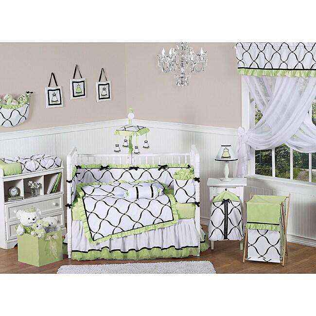 Sweet Jojo Designs Green, Black and White Princess 9-piece Crib Bedding Set