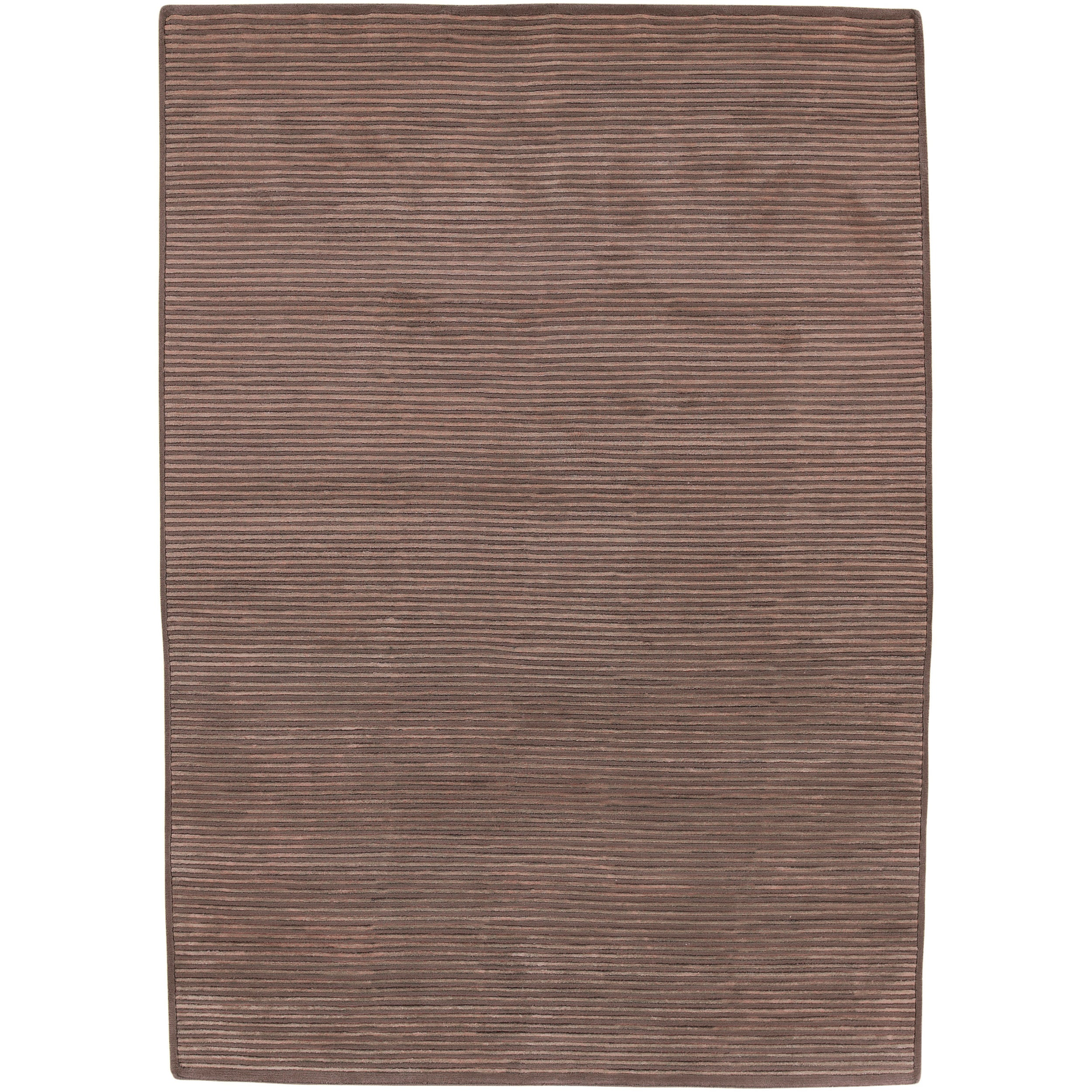 Hand-knotted Solid Brown Casual Chesham Semi-Worsted Wool Area Rug (8' x 11')