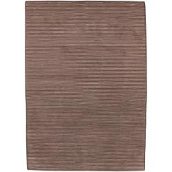 Hand-knotted Solid Brown Casual Chesham Semi-Worsted Wool Area Rug (8' x 11') - Thumbnail 0
