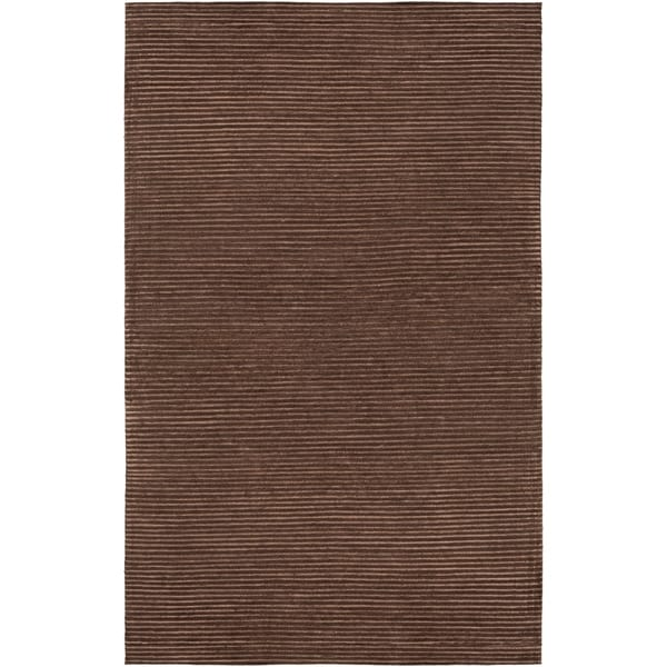 Hand-knotted Solid Brown Casual Chesham Semi-Worsted Wool Area Rug - 8' X 11'