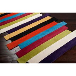 Hand-tufted Contemporary Multi Colored Stripe Bury Wool Abstract Rug (8' x 11') - Thumbnail 1