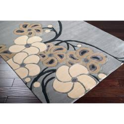 Collection Hand-knotted Chard Floral Wool Rug (9' x 13') - Thumbnail 1