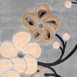 Collection Hand-knotted Chard Floral Wool Rug (9' x 13') - Thumbnail 2