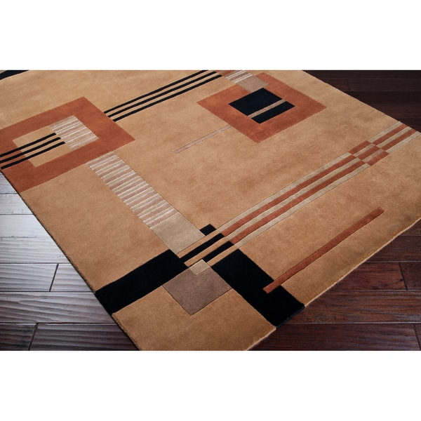 Hand-knotted Brown Contemporary Cheadle Semi-Worsted New Zealand Wool Abstract Rug (5' x 8')