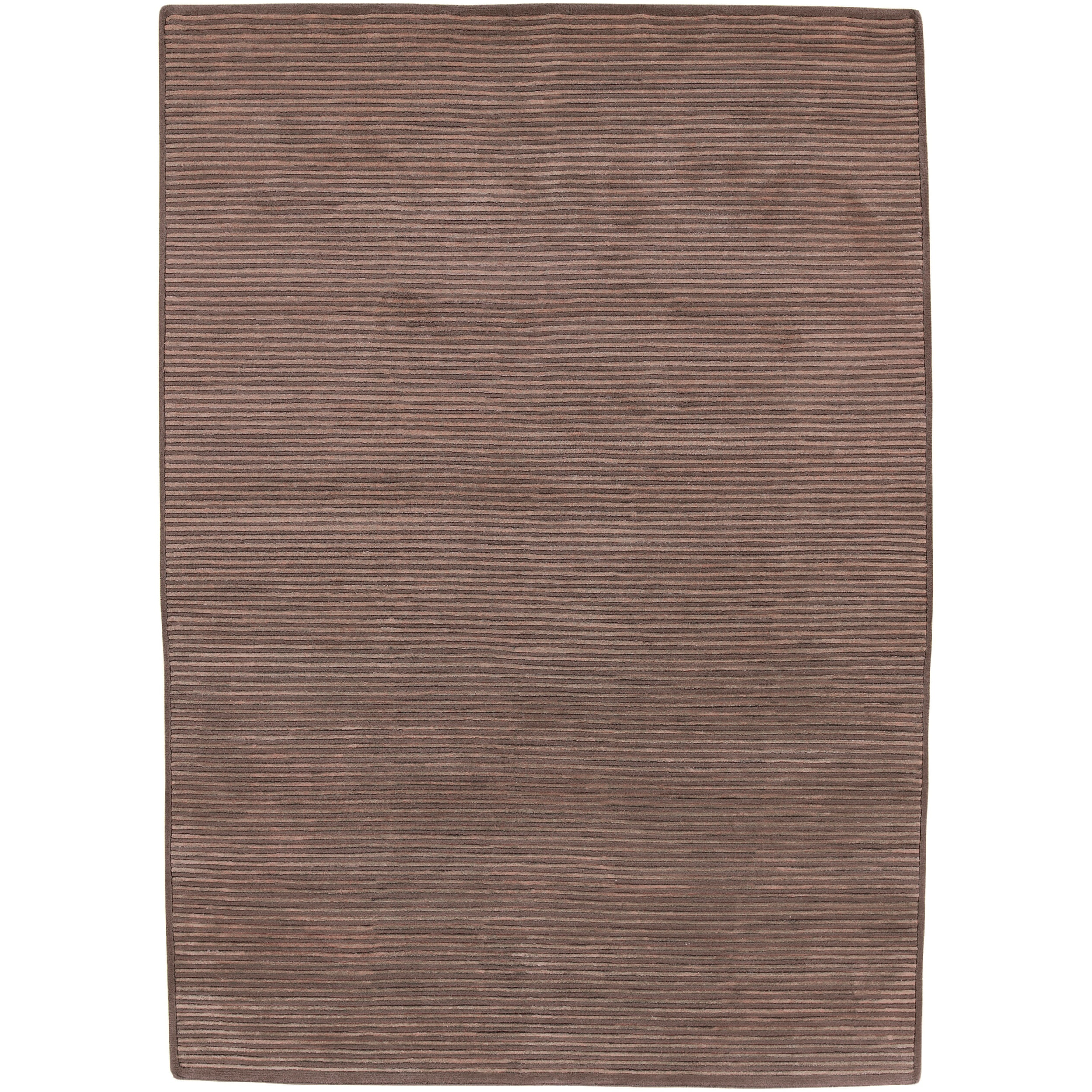 Hand-knotted Solid Brown Casual Chesham Semi-Worsted Wool Area Rug - 5' x 8'