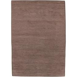Hand-knotted Solid Brown Casual Chesham Semi-Worsted Wool Area Rug - 5' x 8' - Thumbnail 0