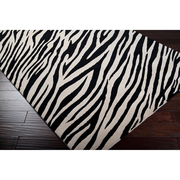 Hand-knotted Zebra Animal Print Chickerell Semi-Worsted Wool Rug (5' x 8')