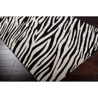 Hand-knotted Zebra Animal Print Chickerell Semi-Worsted Wool Area Rug - 9' x 13'