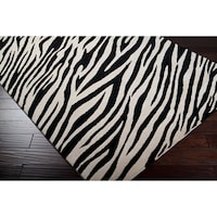 Hand Knotted Zebra Animal Print Erell Semi Worsted Wool Area Rug 9