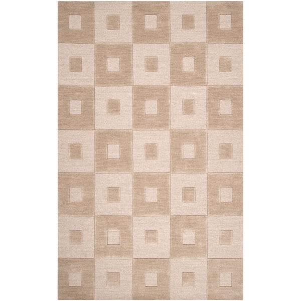 Hand-crafted Solid Beige Geometric Indus Valley Wool Rug (5' x 8')